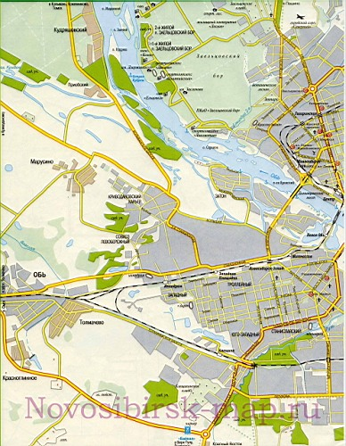 Подробная карта улиц города Новосибирск со схемой проезда грузового транспорта.